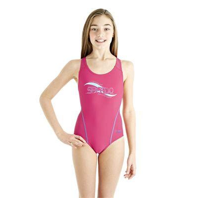 Speedo Spiralize Splashback Girls Swimsuit - Pink/Blue - Front View