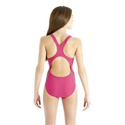 Speedo Spiralize Splashback Girls Swimsuit - Pink/Blue - Back View