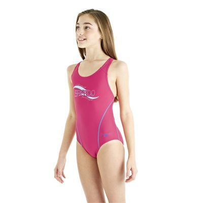 Speedo Spiralize Splashback Girls Swimsuit - Pink/Blue