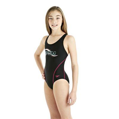 Speedo Spiralize Splashback Girls Swimsuit Black/Pink