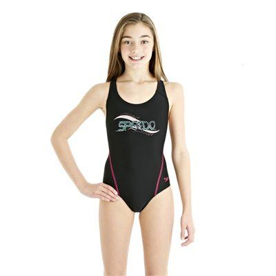 Speedo Spiralize Splashback Girls Swimsuit Black/Pink - Front View
