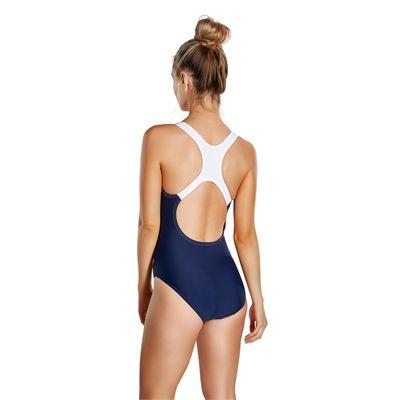 Speedo Sports Logo Medalist Ladies Swimsuit - Back - Navy