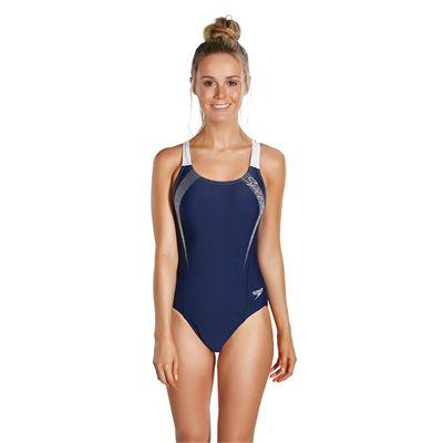 Speedo Sports Logo Medalist Ladies Swimsuit - Front - Navy