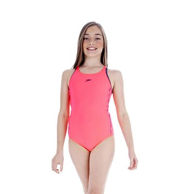 Speedo Superiority Muscleback Girls Swimsuit Pink Blue