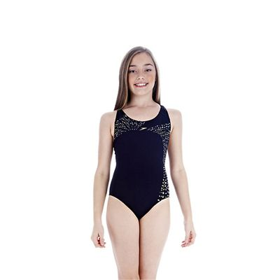 Speedo TideFlow Placement Splashback Girls Swimsuit Navy Yellow