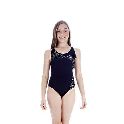 Speedo TideFlow Placement Splashback Girls Swimsuit Navy Yellow