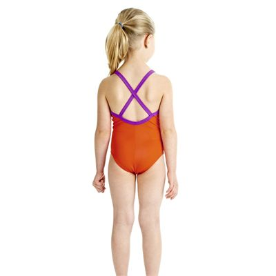 Speedo Tots Raintreat Thinstrap 1 Piece Girls Swimsuit - Back View