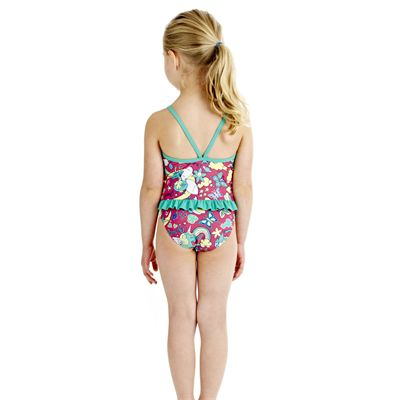 Speedo Tots Shinerain Frill 1 Piece Girls Swimsuit - Back View