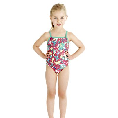 Speedo Tots Shinerain Frill 1 Piece Girls Swimsuit