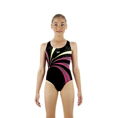 Speedo TurboSnap Placement Splashback Girls Swimsuit Black Pink Green