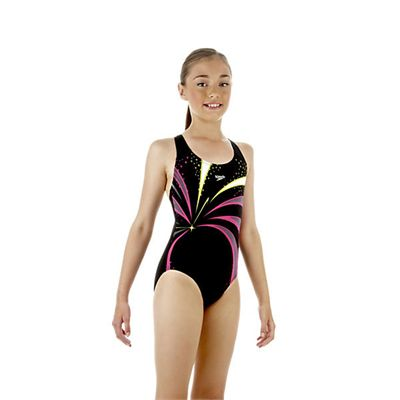 Speedo TurboSnap Placement Splashback Girls Swimsuit Black Pink Green Side