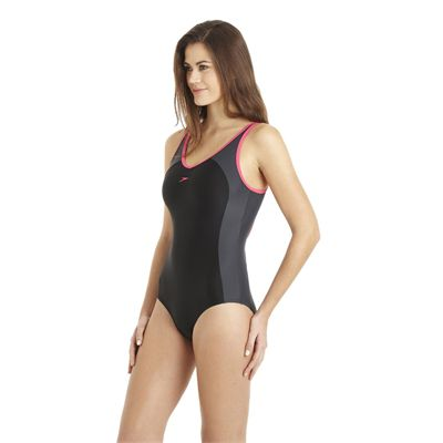 Speedo Winner Clipback 1 Piece Ladies Swimsuit black grey 1