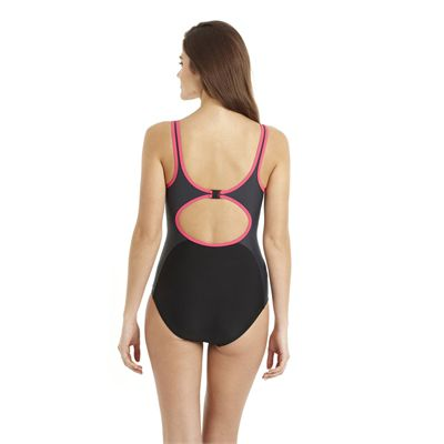 Speedo Winner Clipback 1 Piece Ladies Swimsuit black grey 2