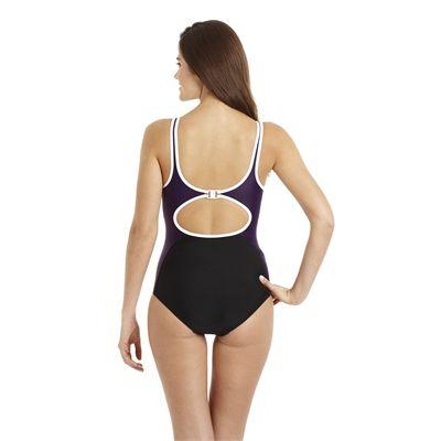 Speedo Winner Clipback 1 Piece Ladies Swimsuit black purple 2