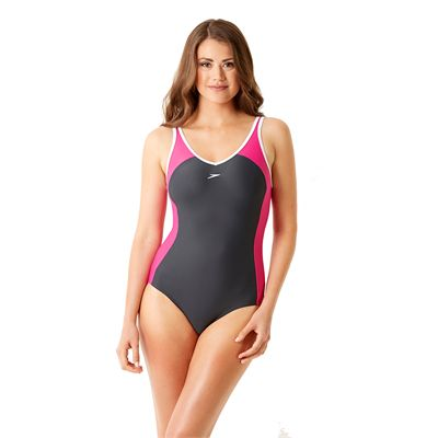 Speedo Winner Clipback Ladies Swimsuit Grey and Pink Front
