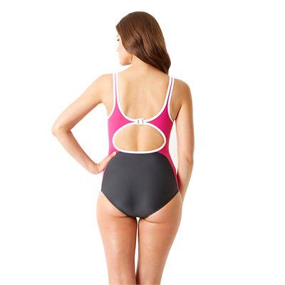 Speedo Winner Clipback Ladies Swimsuit Grey and Pink Back