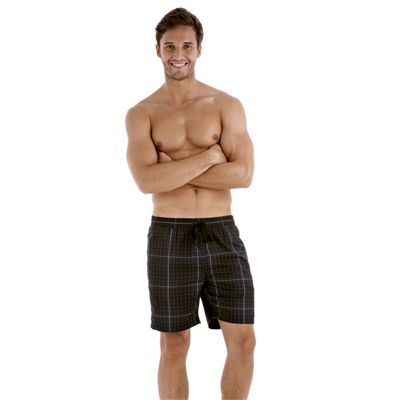 Speedo Yarn Dyed Check Leisure 18 Inch Mens Watershort - Black/Grey