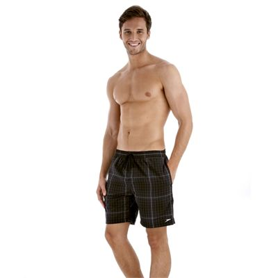Speedo Yarn Dyed Check Leisure 18 Inch Mens Watershort - Black/Grey - Side View