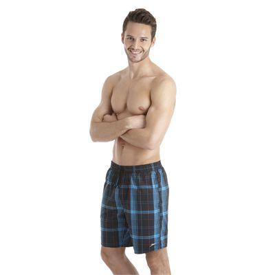 Speedo Yarn Dyed Check Leisure 18 Inch Mens Watershort SS13 Black Blue side