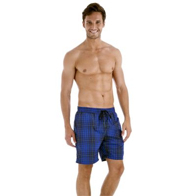 Speedo Yarn Dyed Check Leisure 18 Inch Mens Watershort SS13 Navy Blue Side