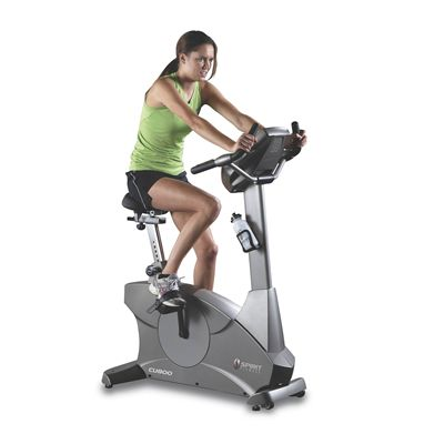 Spirit CU800 Upright Exercise Bike In Use
