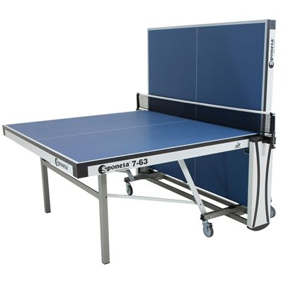 Sponeta Auto Compact ITTF Table Tennis Table-Blue-Half Folded