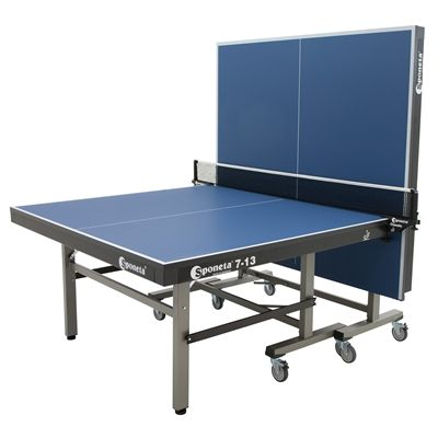 Sponeta Master Compact ITTF Table Tennis Table-Blue-Half Folded