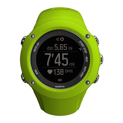 Suunto Ambit3 Run Heart Rate Monitor - Lime - Front View 6