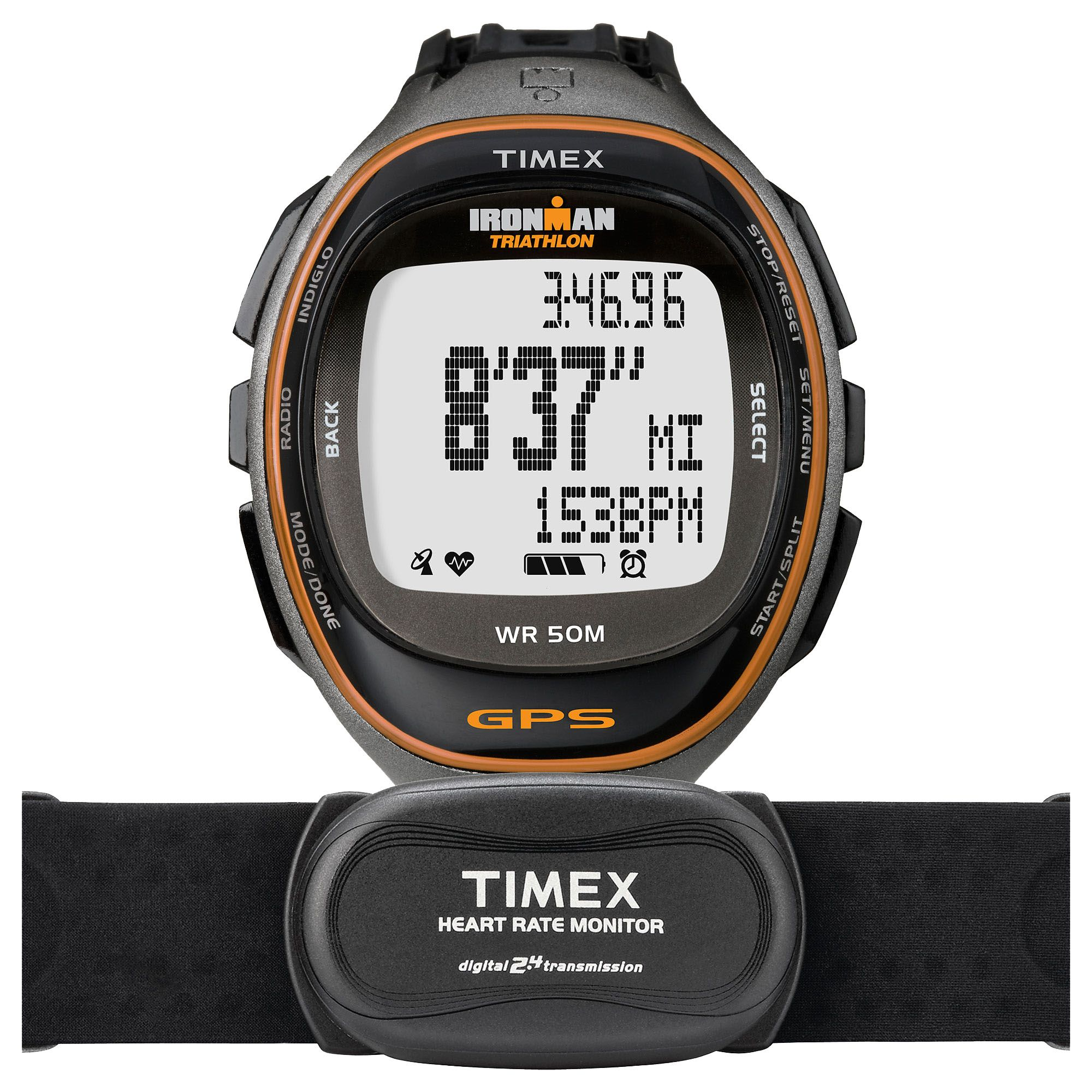 Timex t5k575 mens run trainer gps watch with hrm for Watches with gps