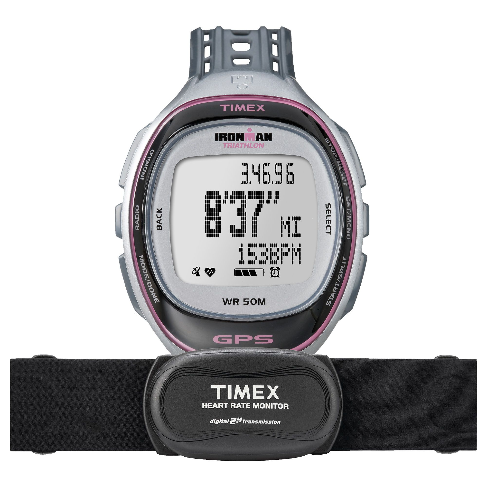 Timex t5k630 ladies ironman run trainer gps watch with hrm for Watches with gps