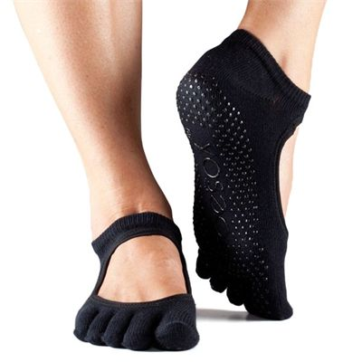 ToeSox Full Toe Bella Grip Socks - Black