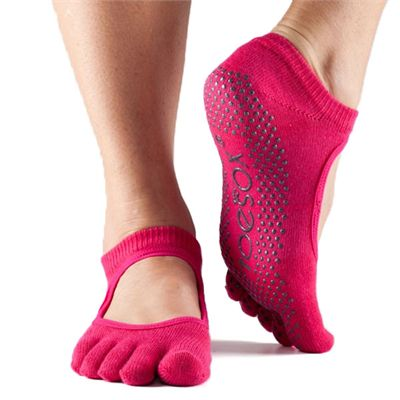 ToeSox Full Toe Bella Grip Socks - Fuchsia