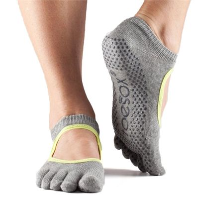ToeSox Full Toe Bella Grip Socks - Grey