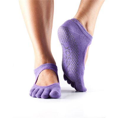 ToeSox Full Toe Bella Grip Socks - Purple