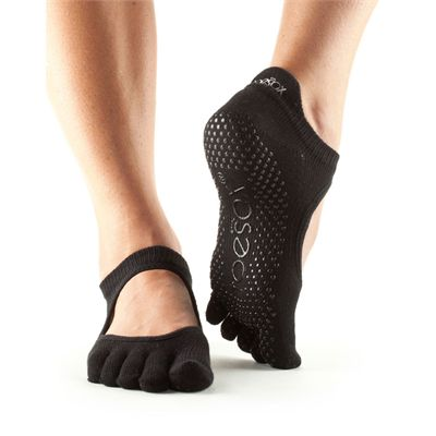 ToeSox Full Toe Bellarina Grip Socks-Black
