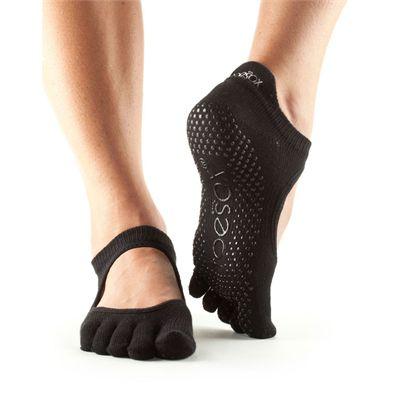 ToeSox Full Toe Bellarina Grip Socks-Black