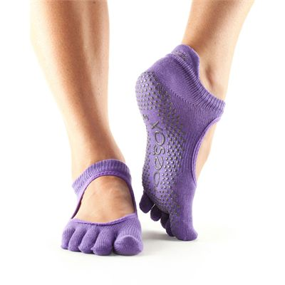 ToeSox Full Toe Bellarina Grip Socks-Purple