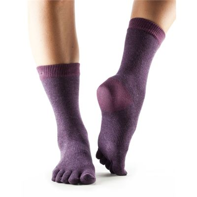 ToeSox Full Toe Casual Crew Dusk Socks-Purple