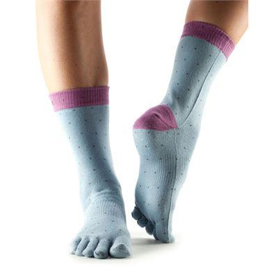 ToeSox Full Toe Casual Crew Polka Socks-Grey