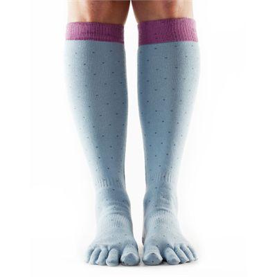 ToeSox Full Toe Casual Knee High Polka Socks-Grey