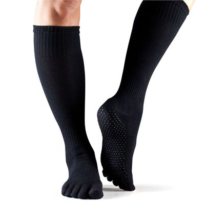 ToeSox Full Toe Knee High Grip Socks - Black