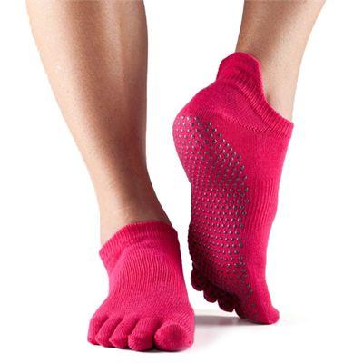 ToeSox Full Toe Low Rise Grip Socks - Fuchsia