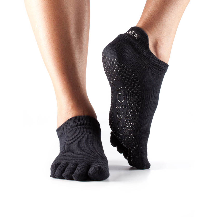 ToeSox Full Toe Low Rise Grip Socks  Black L