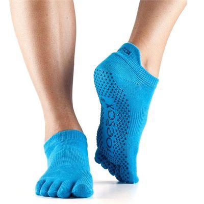 ToeSox Full Toe Low Rise Grip Socks - Blue