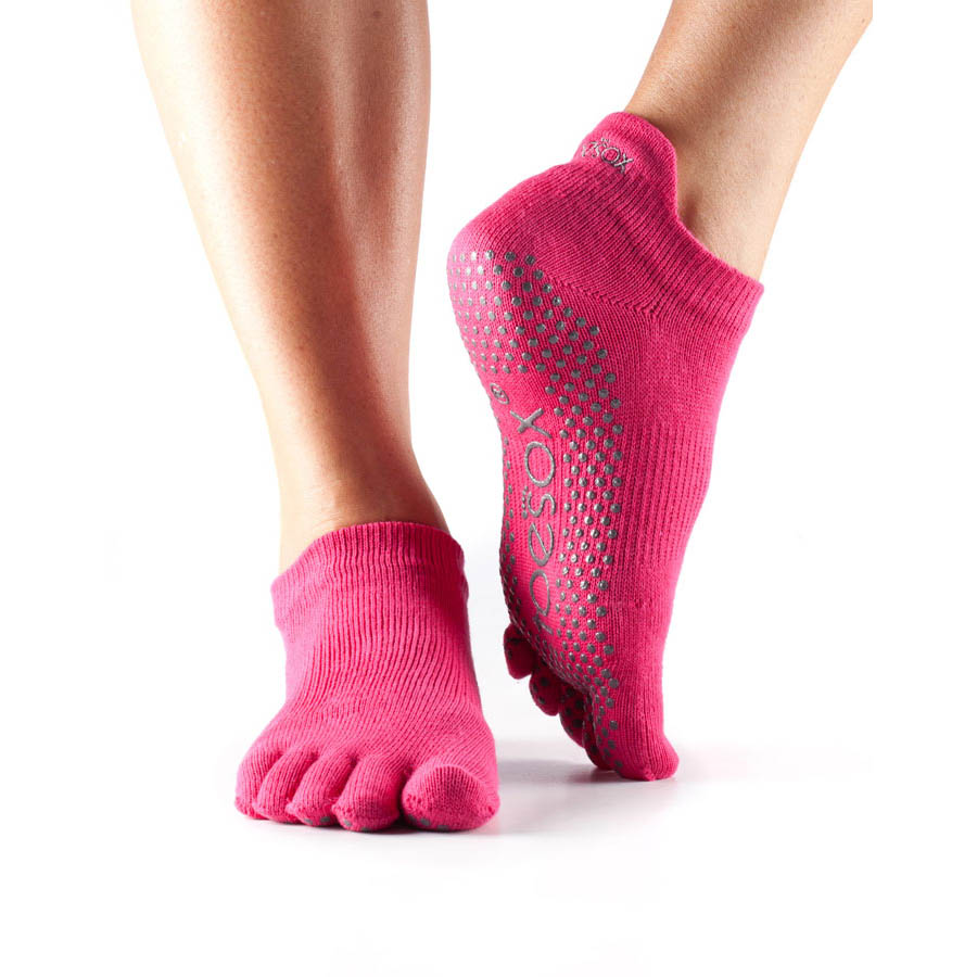 ToeSox Full Toe Low Rise Grip Socks  Fuchsia M