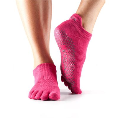 ToeSox Full Toe Low Rise Grip Socks - Fuschia