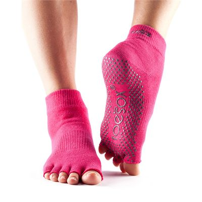 ToeSox Half Toe Ankle Grip Socks-Fuchsia