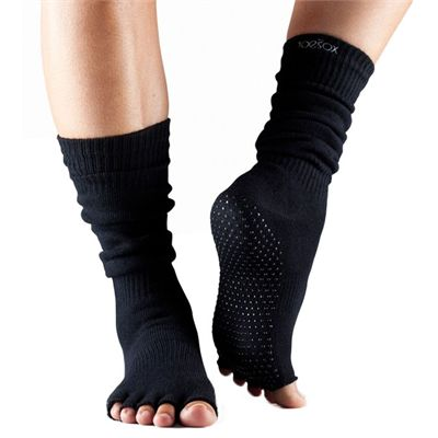 ToeSox Half Toe Knee High Grip Socks - Black