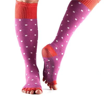 ToeSox Half Toe Knee High Grip Socks - Poppy Polka