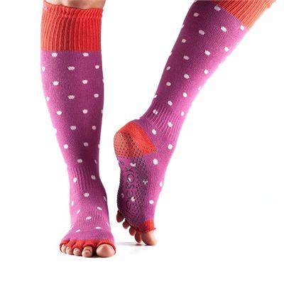 ToeSox Half Toe Knee High Grip Socks - Poppy Polka